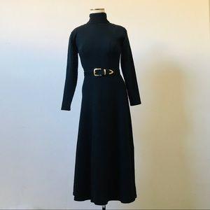 Vintage 100% Wool Black Turtleneck Sweater Dress